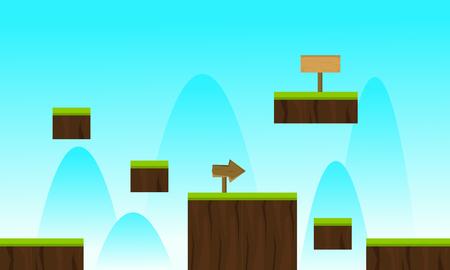 Landscape blue sky game background vector illustration