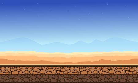 Desert landscape game background style vector illustration