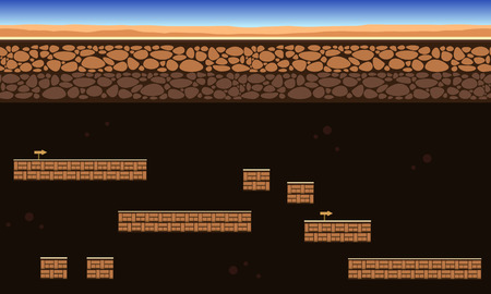 Collection game background in the ground style Ilustração