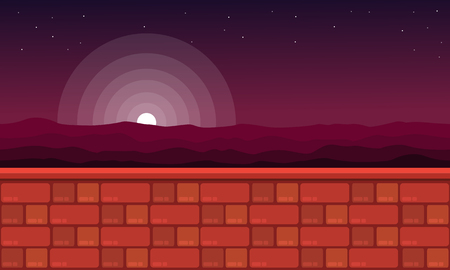 Game background style at night scenery vector art Ilustrace