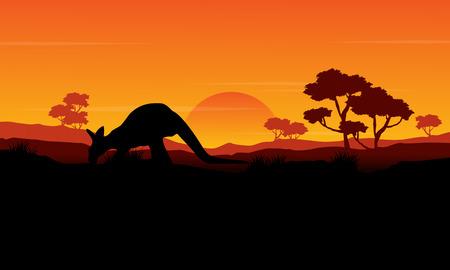 Beauty silhouette of kangaroo landscape vector illustration Illustration