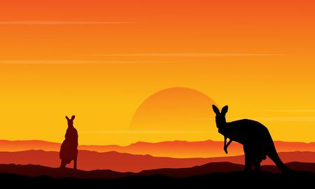 Silhouette of kangaroo on the hill scenery