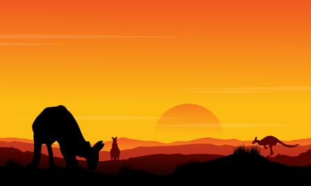 Silhouette kangaroo at sunset scenery vector illustration