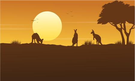 Kangaroo scenery on park silhouettes vector illustration