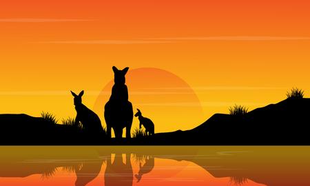 At sunset kangaroo scenery silhouettes vector art Illustration