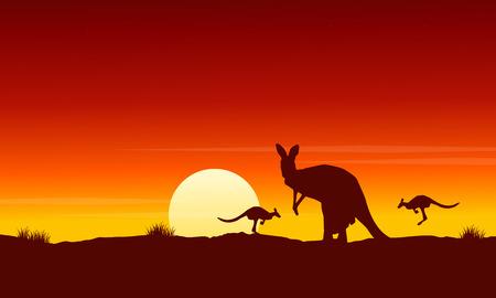 Silhouette kangaroo at sunrise landscape vector illustration