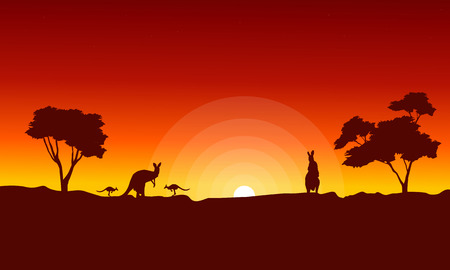Kangaroo with red sky landscape silhouette vector art