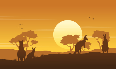 Kangaroo on the hill scenery silhouettes vector art