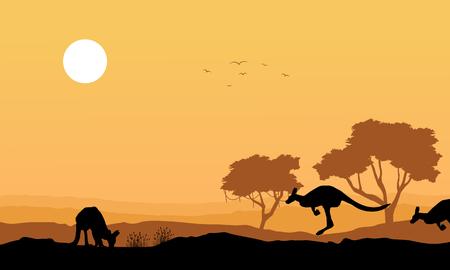 Silhouette kangaroo in the hill landscape vector art Illustration