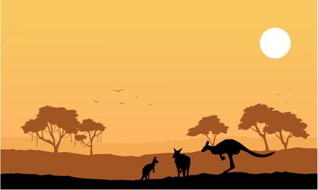 Collection kangaroo on the hill scenery vector art Illustration