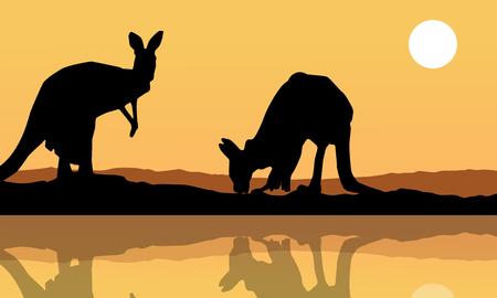 Kangaroo on the lake landscape silhouette vector art Illustration