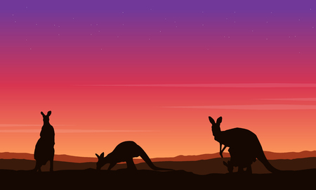 Beauty landscape kangaroo silhouette collection