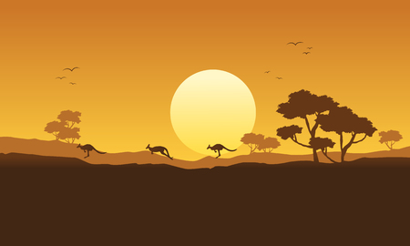 joey: Illustration vector kangaroo scenery silhouette