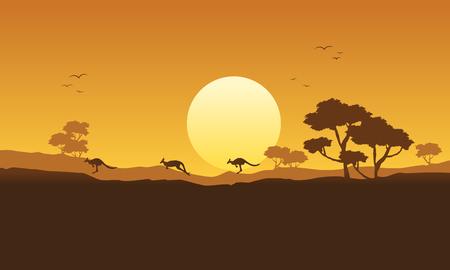 Illustration vector kangaroo scenery silhouette
