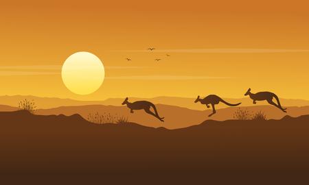 Beauty scenery kangaroo silhouette collection Illustration