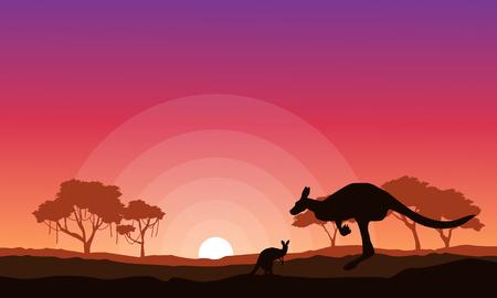 Kangaroo silhouette landscape background collection illustration vector Illustration