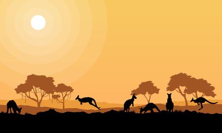 Beauty kangaroo on park scenery silhouettes vector art Illustration