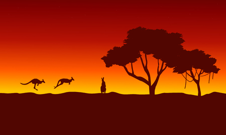 joey: At sunrise kangaroo scenery silhouettes vector art