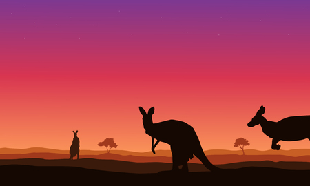 joey: Beauty landscape kangaroo on hill silhouettes vector art Illustration