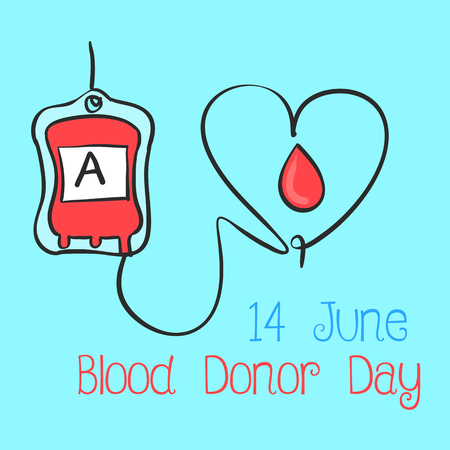 Blue background blood donor day collection
