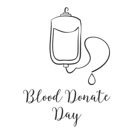 Doodle blood donor day hand draw Illustration