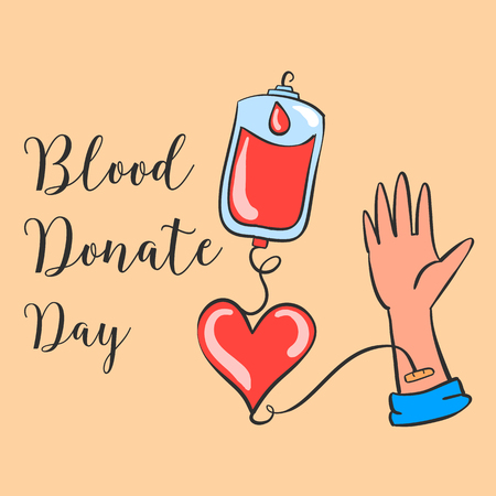 Blood donate day hand draw collection Illustration