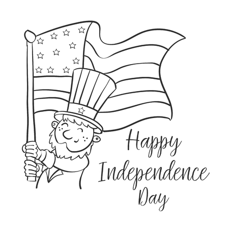 Happy independence day cute style vector art.