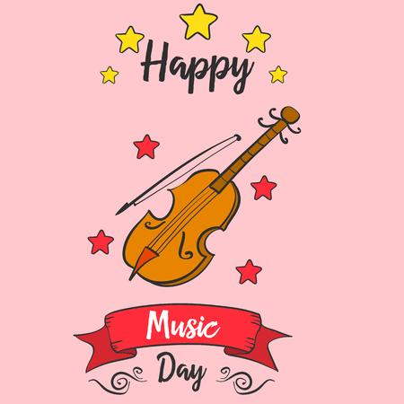 Muziek dagkaart vector kunst doodles collectie Stock Illustratie