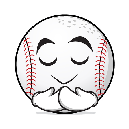 pastime: Praying baseball cartoon character vector illustration collection
