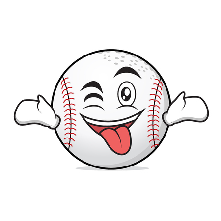 Tongue out with wink baseball character