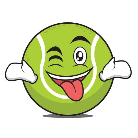 Langue avec clin d'oeil tennis ball caractère vector illustration.