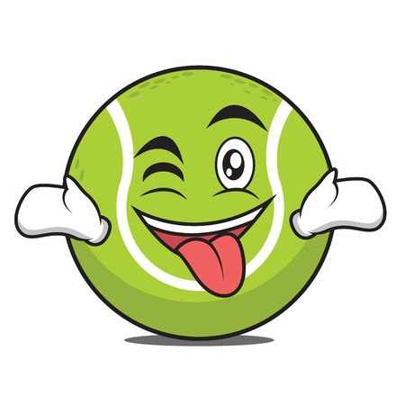 Tongue out with wink tennis ball character vector illustration. Illustration