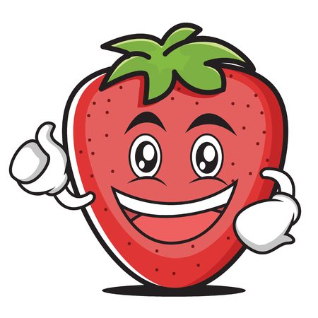 Enthusiastic strawberry cartoon style character vector illustration