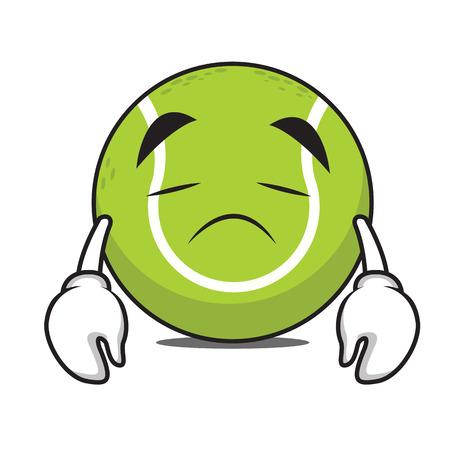 Sad tennis ball character cartoon vector illustration Çizim