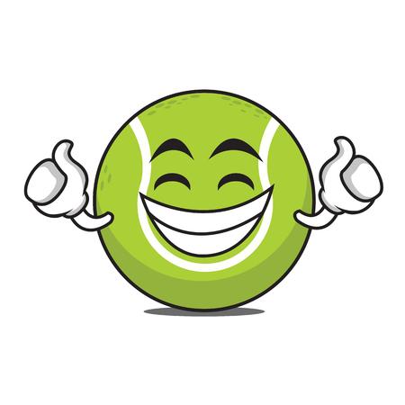 Proud tennis ball cartoon character vector art Çizim
