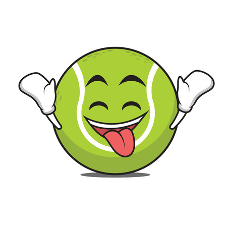 Ecstatic tennis ball cartoon character vector illustration Ilustração