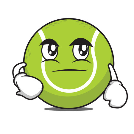 Smirking tennis ball cartoon character vector illustration. Illustration