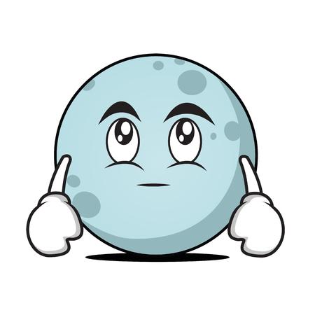Eye rool moon cartoon character Illustration
