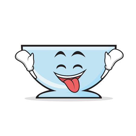 Ecstatic bowl character cartoon style Illustration