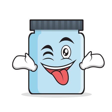 jelly sandwich: Tongue out with wink jar character cartoon style