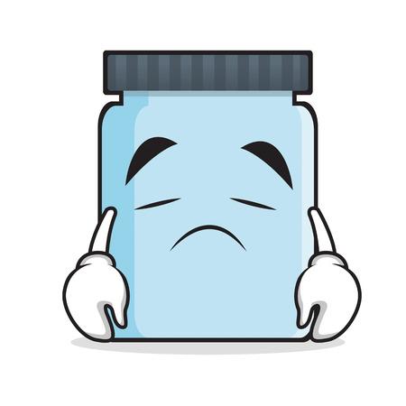 upset: Sad jar character cartoon style