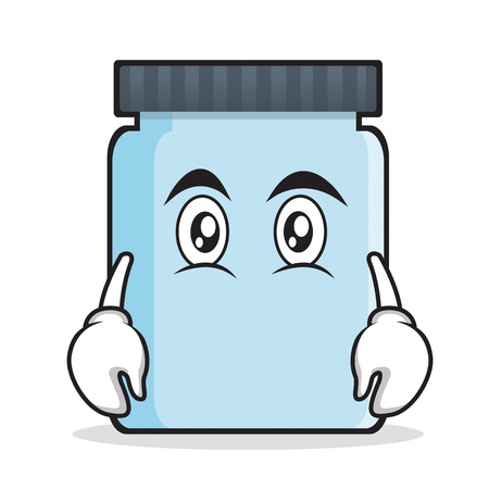 Flat face jar character cartoon style Stock Photo