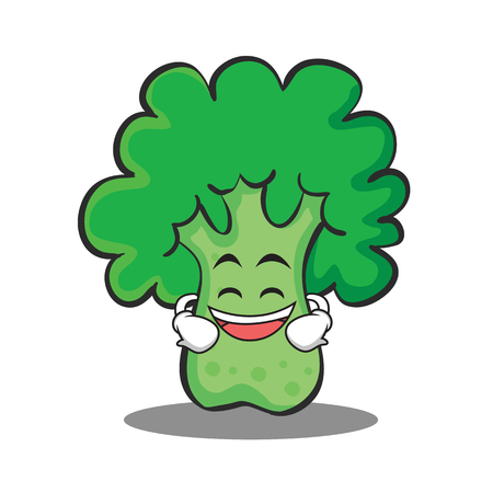 Grinning broccoli chracter cartoon style