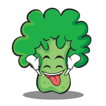 Ecstatic broccoli chracter cartoon style vector illustration