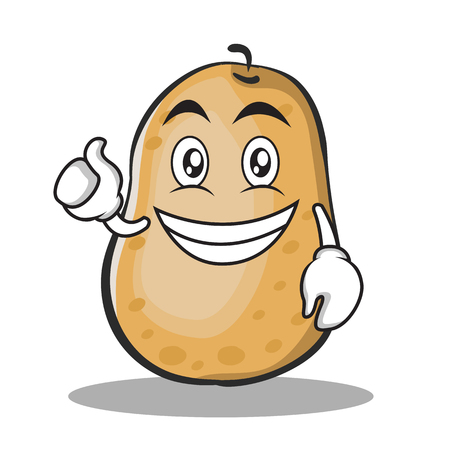 Optimistic potato character cartoon style Çizim