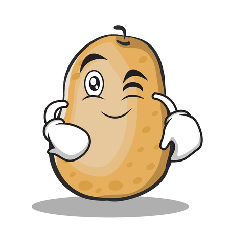 Wink potato character cartoon style