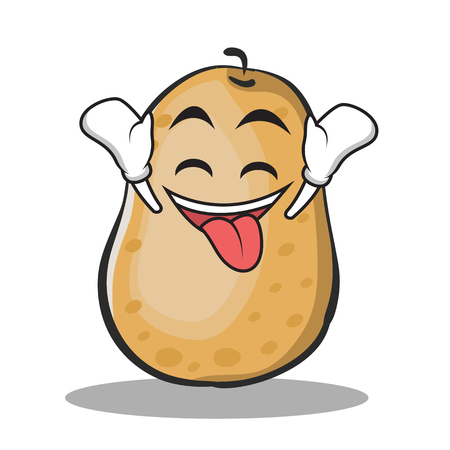 Ecstatic potato character cartoon style