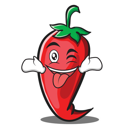 Tongue out with wink red chili character cartoon