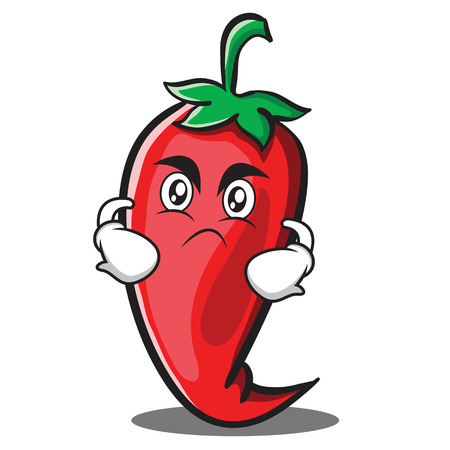 Angry red chili character cartoon Illustration
