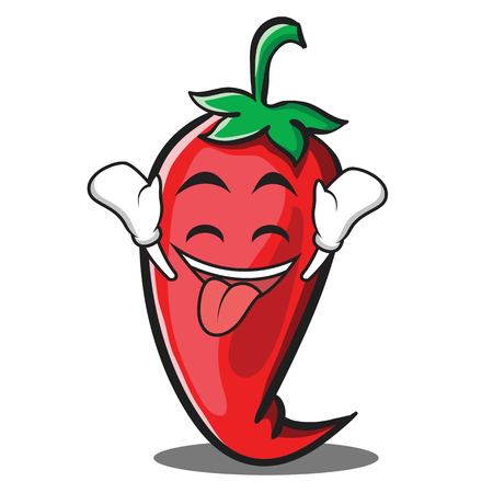 Ecstatic red chili character cartoon